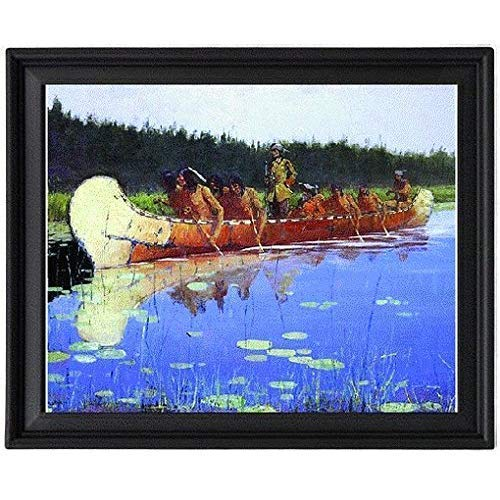 Western Art Indians in a Canoe Remington Frederic Radisson and Groseilliers - Picture Frame 8x10 inches - Poster - Print