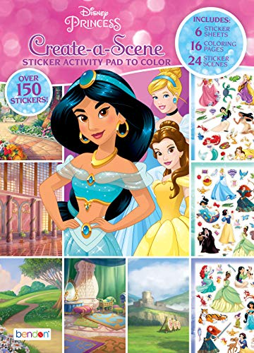 Disney Princess Bendon 45650 Princess Create A Scene Sticker Activity Coloring Pad, Multicolor ()