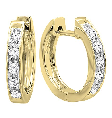 (Dazzlingrock Collection 0.12 Carat (ctw) 10K Round White Diamond Ladies Huggie Hoop Earrings, Yellow)
