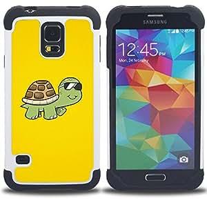 BullDog Case - FOR/Samsung Galaxy S5 I9600 G9009 G9008V / - / Cool Sunglasses Turtle /- H??brido Heavy Duty caja del tel??fono protector din??mico - silicona suave