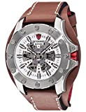 DETOMASO ROTORE Mens XXL Watch Automatic Silver/Brown Analog Stainless Steel Case Leather Strap DT2061-B