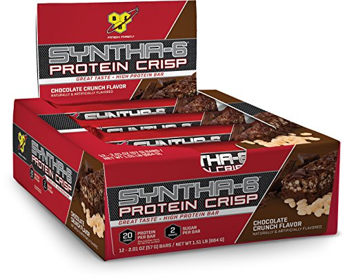 BSN Protein Crisp Bar by Syntha-6, Low Sugar Meal Replacement Whey Protein Bar, Chocolate Crunch, 12 Count (Packaging may vary)