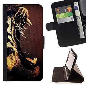 Momo Phone Case / Flip Funda de Cuero Case Cover - Los dientes del tigre Rugido Boca abierta Arte Dibujo - MOTOROLA MOTO X PLAY XT1562