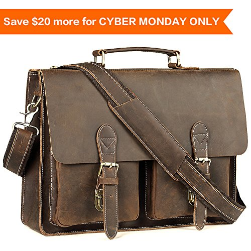 Leather Messenger Bag for Men Handmade Laptop Briefcase Fit 15.6 Inch Pabin (Vintage Brown)
