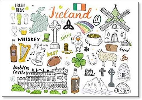 Imán para nevera con diseño de dibujo de Irlanda con iconos y ...