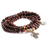 GEM-inside 6MM Red Tiger Eye Handmade Christian Catholic Cross Prayer Rosary Bracelet Unisex Jewelry 30''