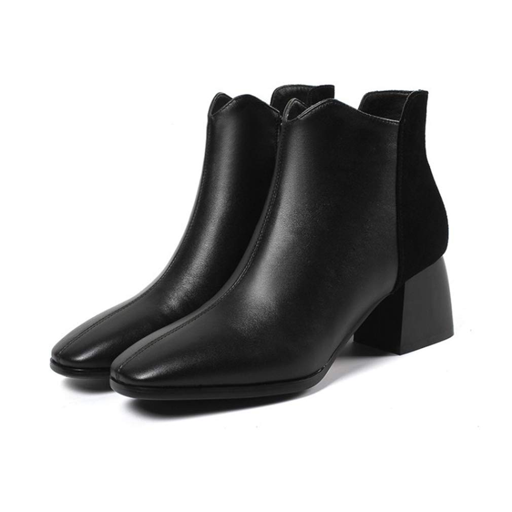 B Women Booties, Leather Ankle Boots Winter Chelsea Comfortable Anti-Slip Martin Boots Pointed Leather Ladies Fashion Boots (color   A, Size   36)