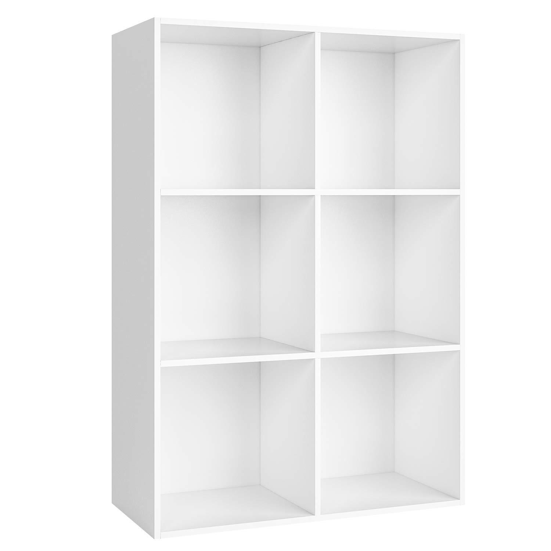HomfaScaffale Libreria Altezza Regolabile Mobile Soggiorno in Legno Mobile Per Archiviazione 30 × 23.5 × 180 cm Carico 30 kg Bianco HF