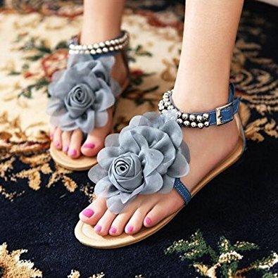 TOOGOO(R) Gladiator Sandalen fuer Frauen weibliche wulstige Blume flache Sommer Flip-Flop flache Schuhe Damenschuhe Boehmen Sandalen beige Groesse 4 Blau & Grau