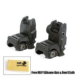 Magpul MBUS Sight Set (Front & Rear) - GEN 2, Black w/ Free MSP Silicone Gun Cloth