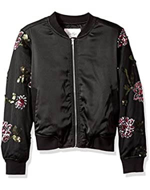 Big Girls' Newt Satin/Sequin Embroidered Mesh Bomber