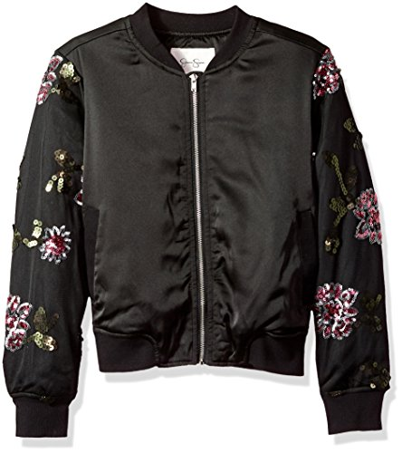 Jessica Simpson Girls' Big Newt Satin/Sequin Embroidered Mesh Bomber, Black/Multi Large