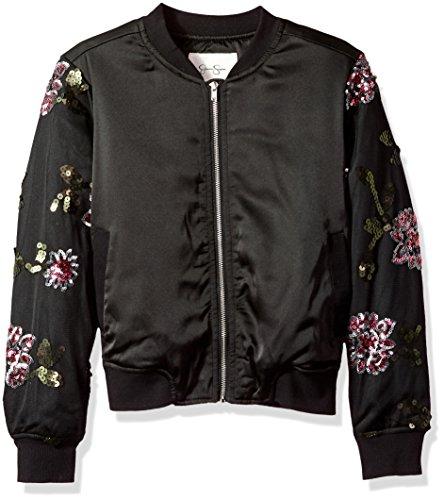 Multi Embroidered Jacket (Jessica Simpson Girls' Big Newt Satin/Sequin Embroidered Mesh Bomber, Black/Multi Large)
