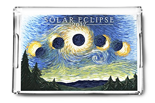 Solar Eclipse 2017 - Starry Night (Acrylic Serving Tray) by Lantern Press