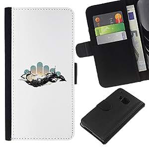 LECELL--Cuero de la tarjeta la carpeta del tirón Smartphone Slots Protección Holder For HTC One M7 -- Geometría abstracta Espacio --