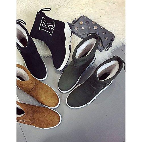 Marrón puntera Zapatos otoño Mid for botas Verde planas Black PU de cuero Calf redonda botas gamuza de invierno casual tacón Mujer moda de HSXZ nubuck Confort de botas 4PdqH4