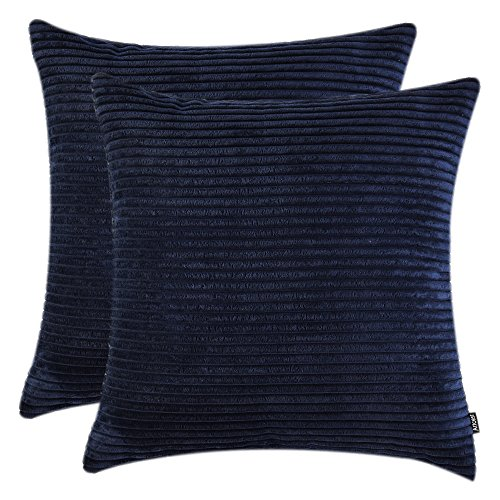 """Artcest Pack of 2, Decorative Velvet Throw Pillow Cases for Couch Sofa,Soft Corduroy Cushion Covers, Cozy Bedding Euro Sham Shells (Navy Blue, 18""""x18"""")"""