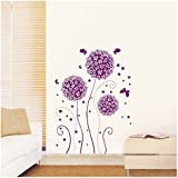 Purple Hydrangea Flowers Romantic Wall Art Stickers Decal for Home Room Decor Decoration by Kaigeli888