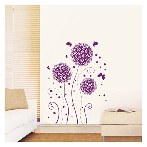 Purple Romantic Big Flower Wall Stickers Home Decor: Flower Wall Stickers: Amazon.co.uk
