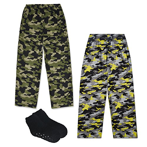 Mad Dog Boy's 2-Pack Pajama Pants + Slipper Socks (Sizes 4-16) (Camo, Medium (6-8)) (Pant Sleep Fleece Boys)