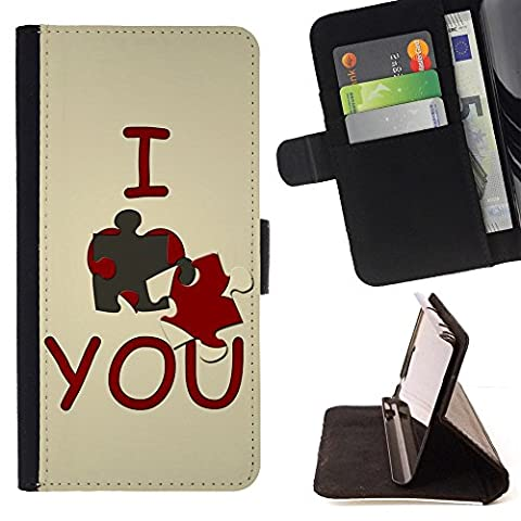 For Samsung Galaxy Note 4 IV,S-type I love you Cute - Drawing PU Leather Wallet Style Pouch Protective Skin (I Pocket Covers For Samsung Note4)