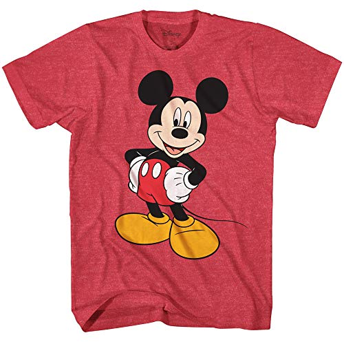 World Mickey Mouse T-shirt - Disney Mickey Mouse Wash Disneyland World Tee Funny Humor Men's Graphic T-Shirt (Premium Red Heather, X-Large)