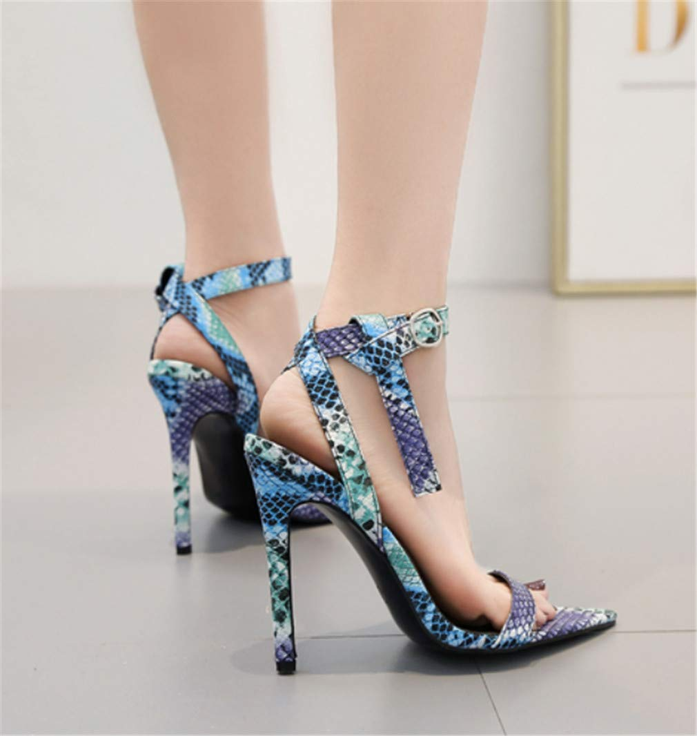 ELEGENCE-Z High-Heeled Sandals Europe and America Summer Pointed Color Matching Breathable Wear Resistant Artificial PU Sandals High Heels