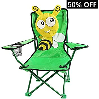 Comfortable Kids foldable Camping Chair for indoor and outdoor Use W/Catoon Design for children (Bee)