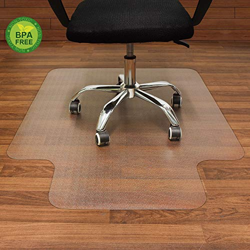 AiBOB Polyethylene Office Chair mat for Hardwood Floor, 36 x 48 inches, Easy Glide for Chairs, Flat Without Curling, Floor Mats for Computer Desk
