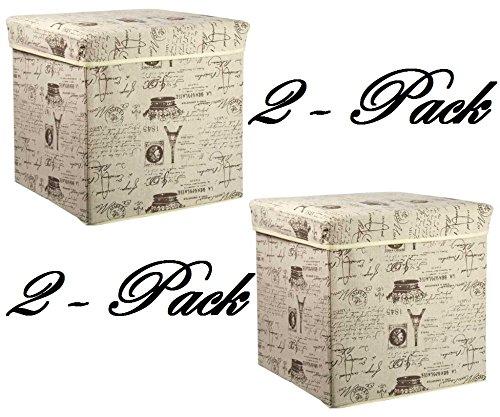 Home Basics Storage Ottoman, Paris 2 Pack
