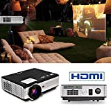 EUG LED Projector 3500 Lumens Multimedia Home Theater Display 200'' 720P 1080P Video Projectors with HDMI2 USB2 Audio VGA for Computer Laptop Game Consoles Media Player Outdoor Entertainment