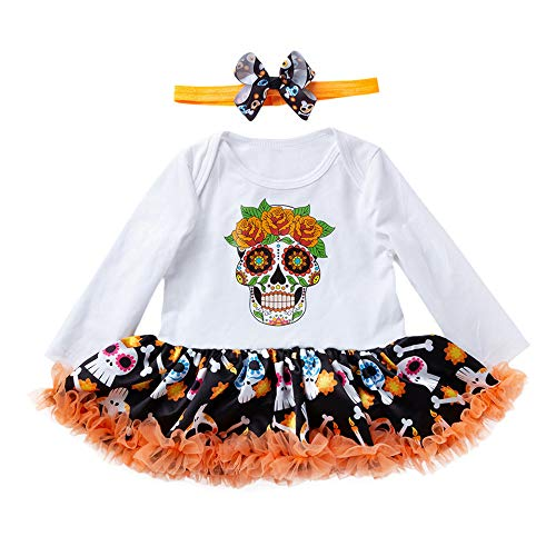 Little Fancy Baby Boy Girl Halloween Romper Skull Bone Costume Outfits Clothes White
