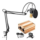 #2: Neewer NW-800 Condenser Microphone Kit - Mic(Black/Gold) and 48V Phantom Power Supply(Gold),NW-35 Boom Scissor Arm Stand with Shock Mount and Pop Filter(Black),XLR Cable for Home Studio Recording
