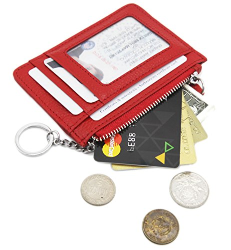 Zhoma RFID Blocking Genuine Leather Wallet - Credit Card Holder with Key Ring and ID Window - - Id Leather Ring Key