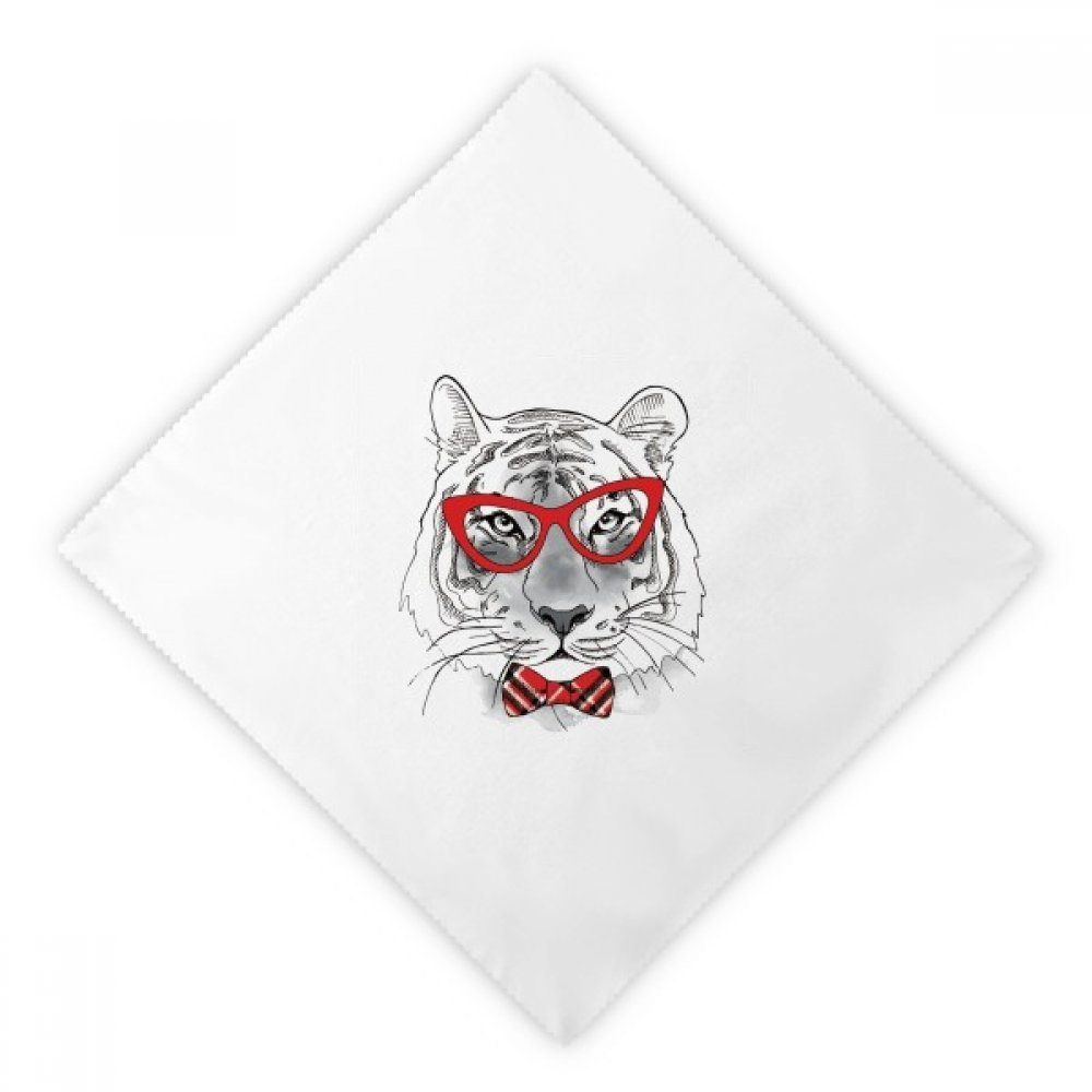 DIYthinker Glasses Tiger Handsome Animal Dinner Napkins Lunch White Reusable Cloth 2pcs