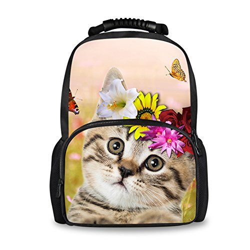 Coloranimal Cute Cat Flower Printed Women Travel Felt Backpack Big Capacity Purse