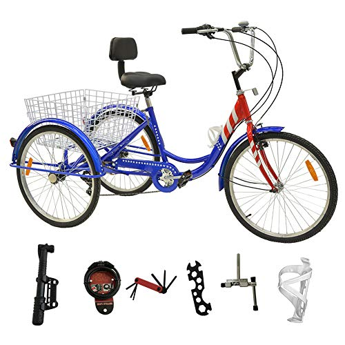 DoCred 24 Inch Adult Tricycle 7 Speed 3 Wheel Bike Adult Tricycle Trike Cruise Bike Men's Women's Cruiser Bicycles w/Large Basket and Maintenance Tools (Star Stripe)