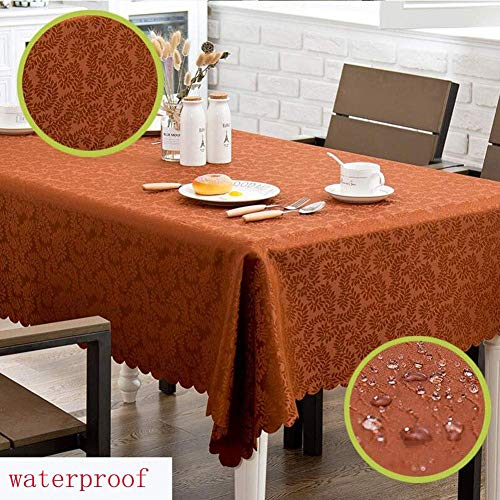 ZHAS Nappe hôtel Nappe rectangulaire Restaurant Restaurant ménage Table à Manger imperméable décoration Table Basse essuyer (Couleur  café d'herbe, Taille  140  190cm)