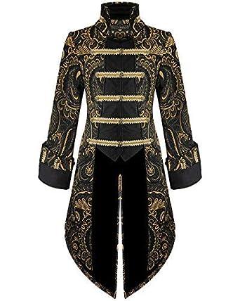 Devil Fashion Hommes Queue de Pie Veste Doré Noir Gothique Steampunk  Aristocrate - Noir et Doré 8577ae87548