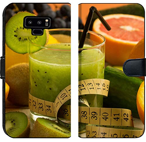 (Samsung Galaxy Note 9 Flip Fabric Wallet Case Image ID 35342658 Kiwi Smoothie and variuous Fresh Fruit Fitness Concept)