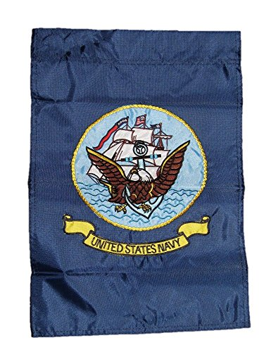 ALBATROS 12 in x 18 in Embroidered U.S. Navy Ship Emblem Nylon Sleeved Garden Flag for Home and Parades, Official Party, All Weather Indoors ()