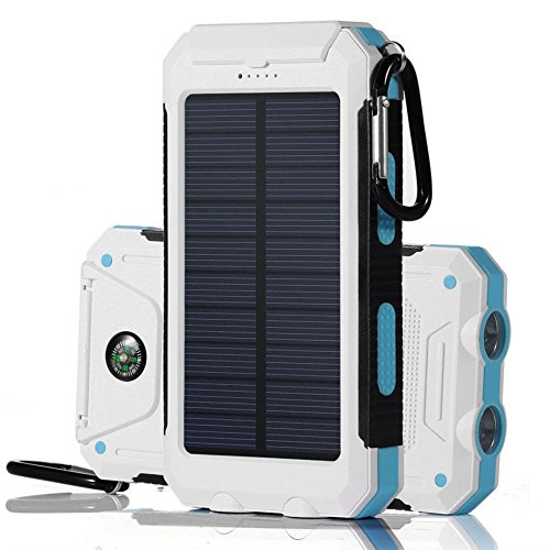 White+Blue Waterproof 500000mAh Dual USB Portable Solar Charger Solar Power Bank For Phone by Unknown