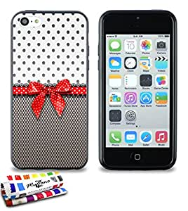 Carcasa Flexible Ultra-Slim APPLE IPHONE 5C de exclusivo motivo [Pin up] [Negra] de MUZZANO  + ESTILETE y PAÑO MUZZANO REGALADOS - La Protección Antigolpes ULTIMA, ELEGANTE Y DURADERA para su APPLE IPHONE 5C