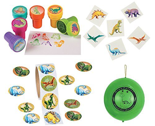 Dinosaur Kid's Party Favor Playset Includes 100 Stickers, 36 Tattoos, 12 ink Stampers and 1 Bonus Punch Ball