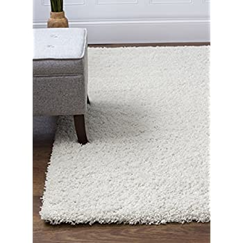 Ivory White Shag Rug, 5 Feet By 8 Feet, 5x8 Stain Resistant Non Shed Living  Room Easy Care Carpet