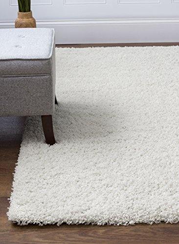 Ivory White Shag Rug, 5-Feet by 8-Feet, 5x8 Stain-Resistant Non-Shed Living Room Easy Care Carpet