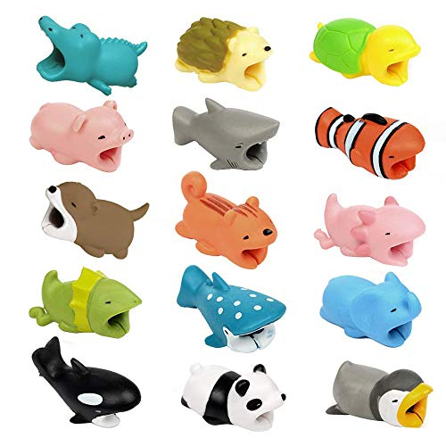 Price comparison product image Shaoshao 15pcs Cute Cable Bite For Iphone Cable cord Animal Phone Accessory Protects