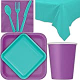 Disposable Party Supplies for 28 Guests - Pretty Purple and Caribbean Teal - Square Dinner Plates, Square Dessert Plates, Cups, Lunch Napkins, Cutlery, and Tablecloths: Premium Quality Tableware Set