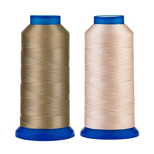 - Selric [3000Yards/Khaki+Beige] Pack of 2 UV Resistant High Strength Polyester Thread #69 T70 Size 210D/3 for Upholstery, Outdoor Market, Drapery, Beading, Purses, Leather
