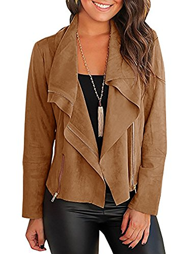 (Chellysun Womens Faux Leather Jackets Suede Lightweight Zip Fall Tops Outerwear)